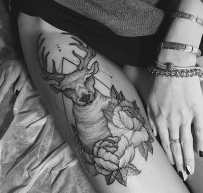 Deer Flower Tattoos