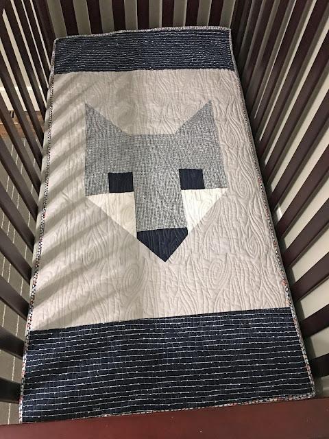 Elizabeth Hartman Fancy Fox II pattern with navy and gray fabric