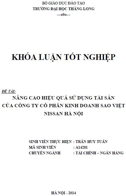 Nâng cao hiệu quả sử dụng tài sản của Công ty Cổ phần Kinh doanh Sao Việt MISSAN Hà Nội