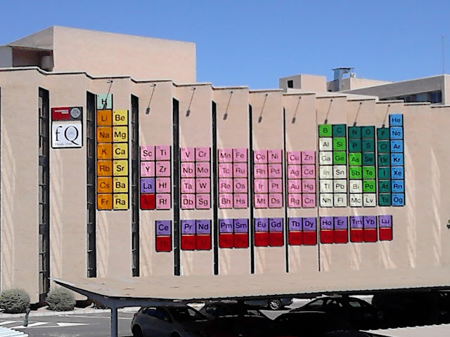 Tabla periódica en la fachada de la Facultad de Químicas (UMU)