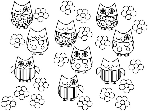 Cute Owl Coloring Pages With Adult Printable Free