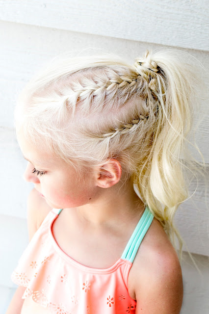 diy hair hairstyle style idea braid french fishtail blonde pony pigtails