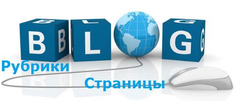 Рубрики на блоге и страницы в блоге