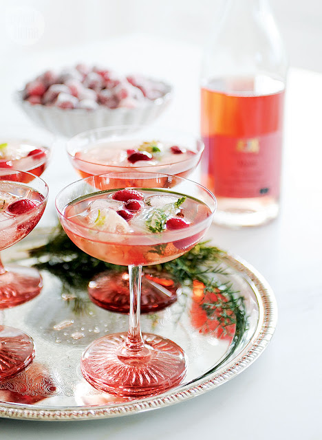 sparkling rosé pink champagne coupes