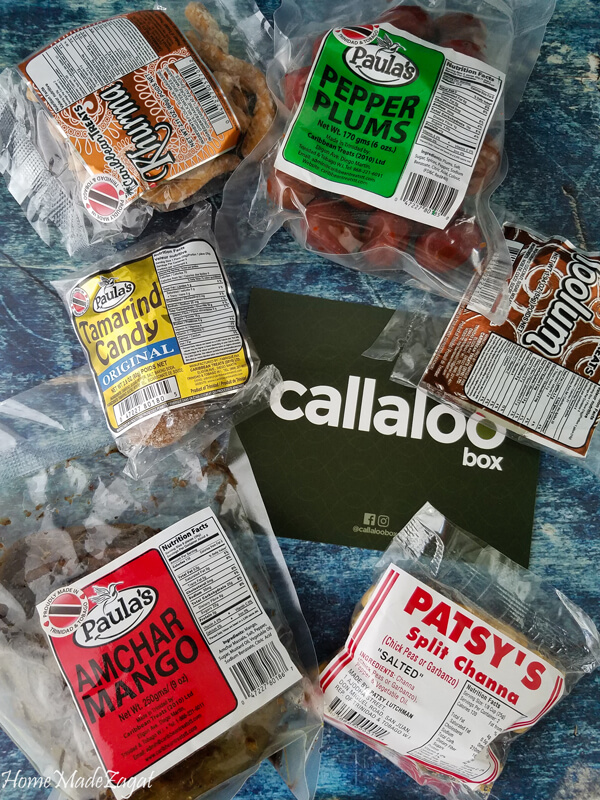 Items from Callaloo Box's snack box