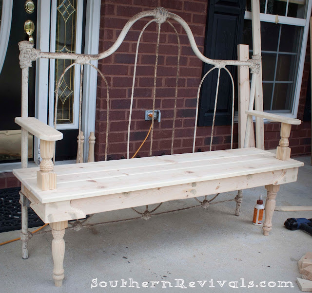 Antique Headboard Bench: DIY Repurposed Metal Headboard Bench