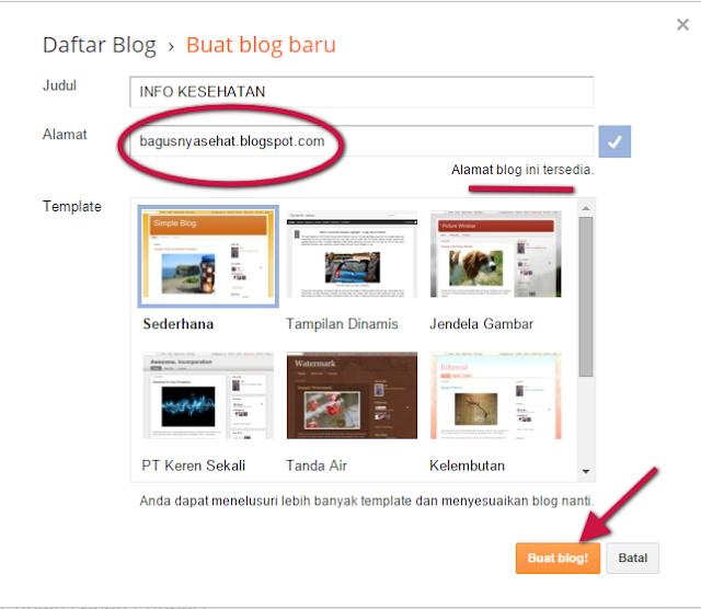 Memilih alamat blog gratisan.