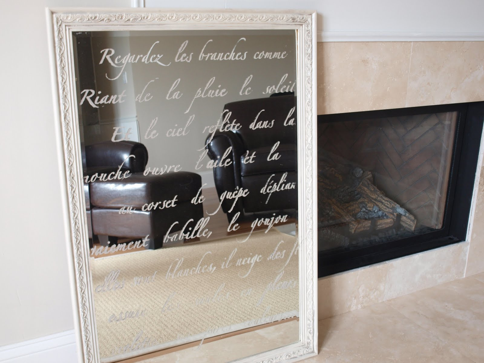 Stenciled mirror with French script for etched look by Hello Lovely Studio