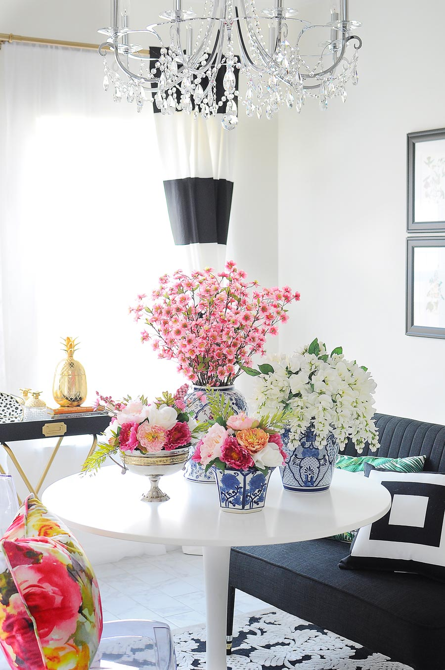 Using faux florals in your home is an easy and inexpensive way to add color and style to the various rooms of your home. This tutorial features instructions for how to DIY your own floral arrangements for home decor.