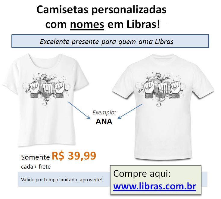 Camisetas personalizadas com seu nome em Libras. Exemplo da foto  ANA.  Compre aqui  66761d5059065