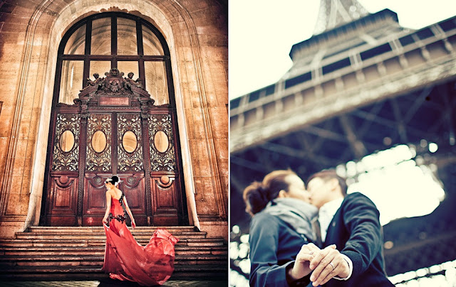 romantic under eiffel tower