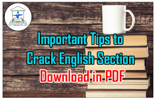 Important Tips to Crack English Section in Upcoming Exams 2016/17 - Download in PDF
