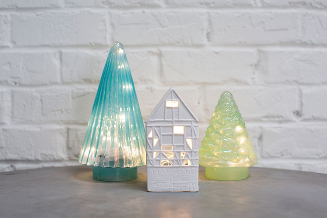Candy cane Trees and Mini Holiday Houses from Accent Decor