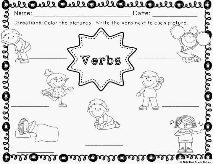 First Grade Stripes: Verbs Signs & Interactive Journal