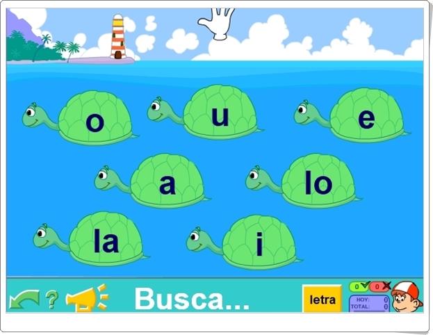 """""""Las tortugas"""" (Juego de reconocimiento de vocales de Pipo)"""