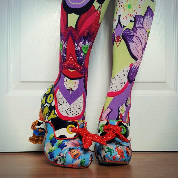 bright patterned tights with Disney Irregular Choice shoes