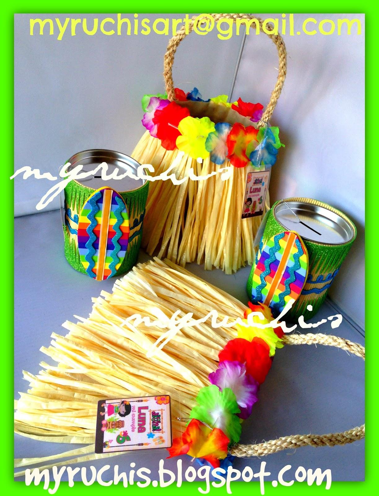 Myruchis dulceros fiesta hawaiana bolsitas falda for Fiestas ideas originales
