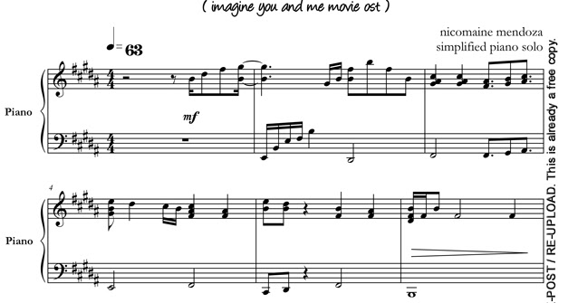 Simplified Piano Solo Imagine You And Me By Nicomaine Mendoza