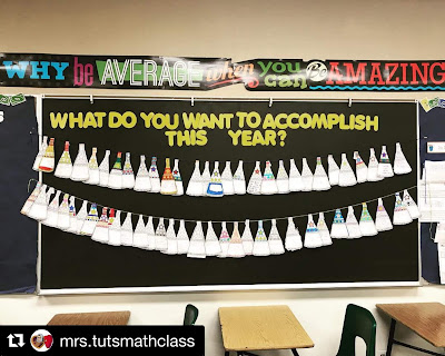 "Mrs. Tut shared this photo of her matholution bulletin board on Instagram with the title ""What do you want to accomplish this year?"""