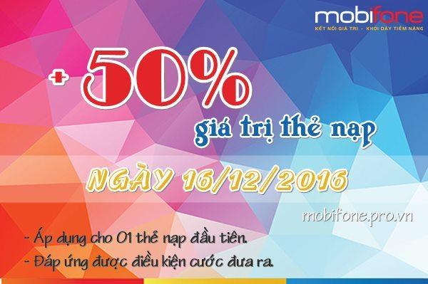 Mobifone khuyến mãi 50% thẻ nạp ngày 16/12/2016