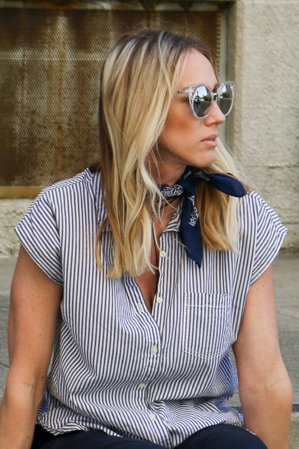 womens navy and white striped button up top
