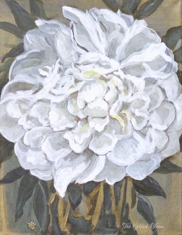 Duchesse de Nemours Peony Painting- www.gildedbloom.com