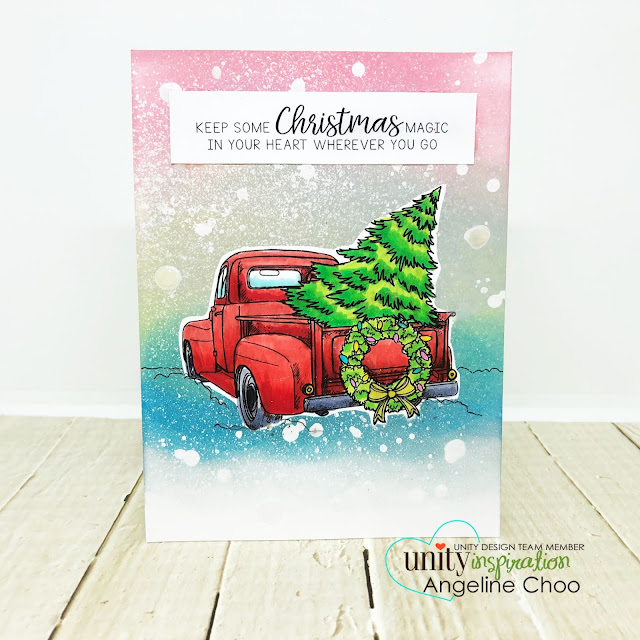 ScrappyScrappy: July Blog Hop with Unity Stamp - Distress Resist Spray Snowy Background #scrappyscrappy #unitystampco #tyoutube #quicktipvideo #card #cardmaking #craft #crafting #christmas #christmascard #timholtz #distressoxide #distressresistspray #snowfall #christmastree #christmaswreath