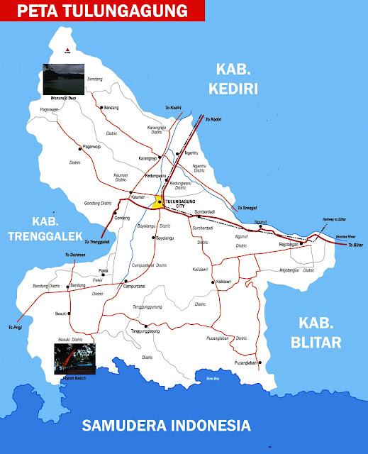 Gambar Peta Tulungagung Lengkap 19 Kecamatan