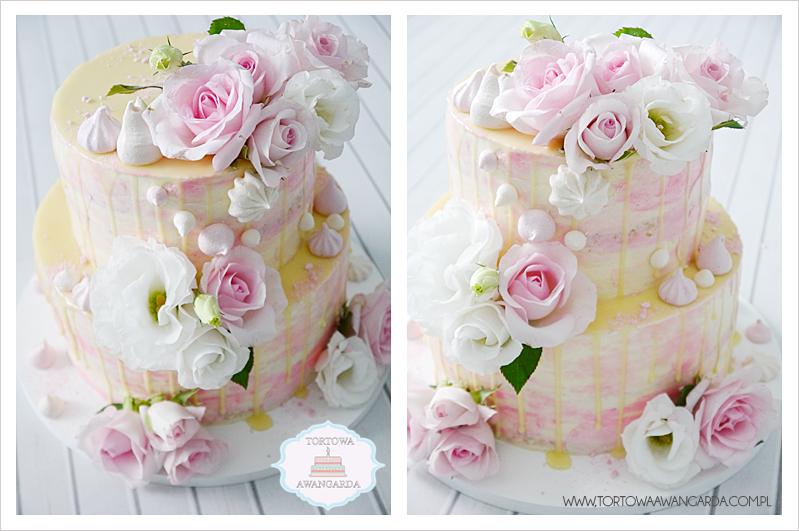 weselny wedding drip cake z kwiatami w kremie akwarele Warszawa