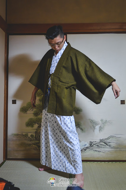 Samurai ready for sleep in the pajamas?
