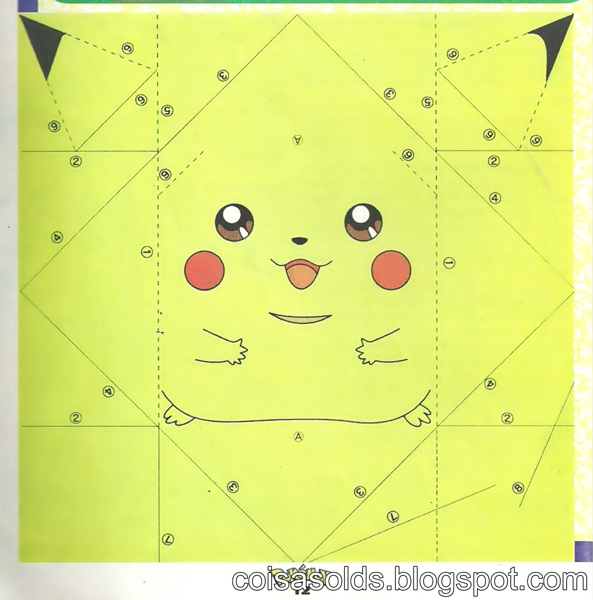 Origami Pokemon Diagram Light Switch Wiring Uk Pikachu  Embroidery And