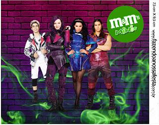 Etiqueta M&M de Fiesta de Descencientes para imprimir gratis.