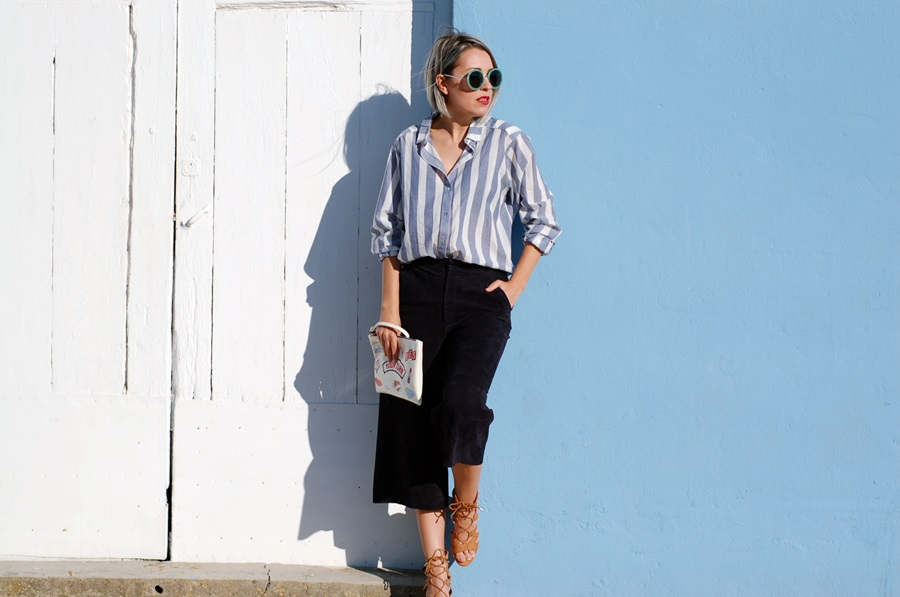 blue stripes and blue suede culottes littledreamsbyr