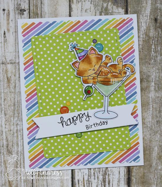 Cat in Cocktail Party Card by Holly Endress| Newton Celebrates Stamp Set by Newton's Nook Designs #newtonsnook #handmade