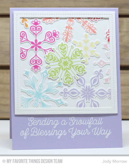 Handmade card from Jody Morrow featuring Snowfall of Blessings stamp set, Simply Snowflakes stamp set and Die-namics, Single Stitch Line Square Frames and Blueprints 13 Die-namics #mftstamps