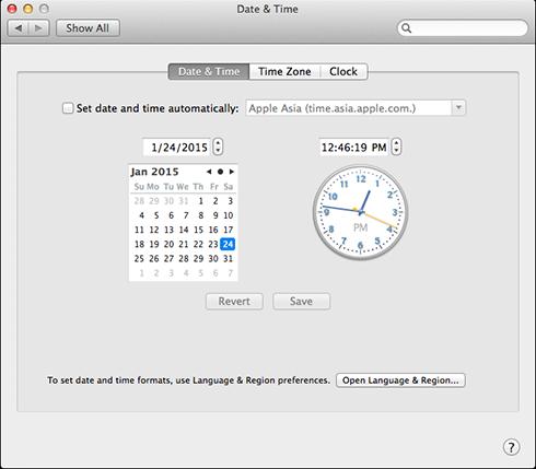 điều chỉnh đúng thời gian trong OS X