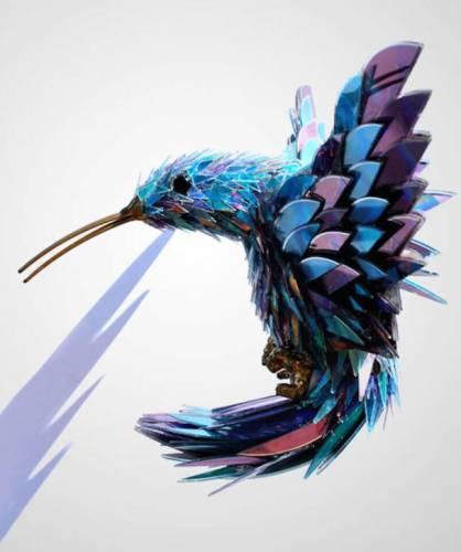 Kerajinan tangan bentuk burung dari CD bekas
