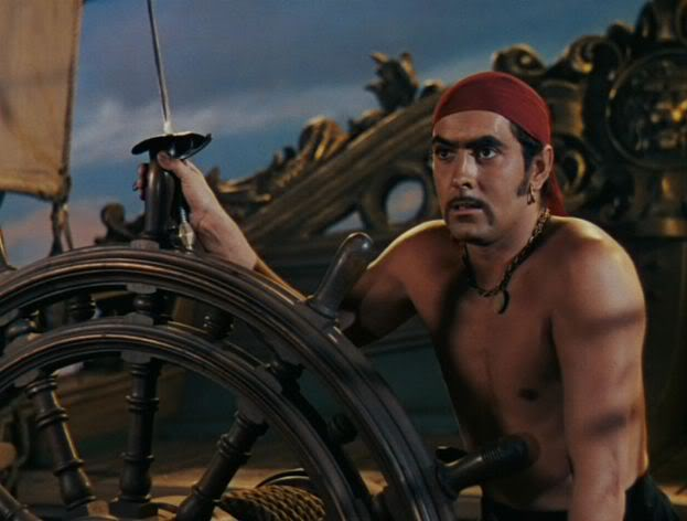 Publicity photo of Tyrone Power in The Black Swan, 1942. Tyrone, as Captain Jamie Waring with stylized pirate elements. Freelance Piracy marchmatron.com
