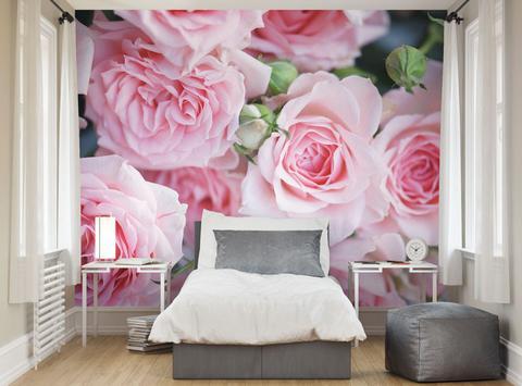 sovrumstapet blommig tapet rosor fototapet fondtapet