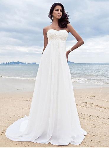 Elegant A-Line Scoop-Neckline Floor-Length Beach Wedding Dress