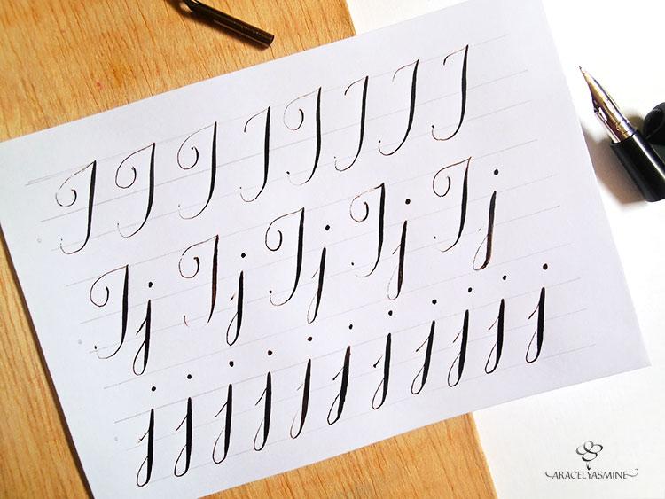 caligrafia copperplate aprender como escribir letra j abecedario