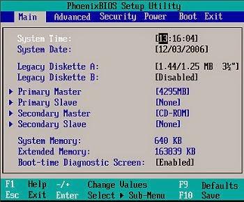 menu BIOS