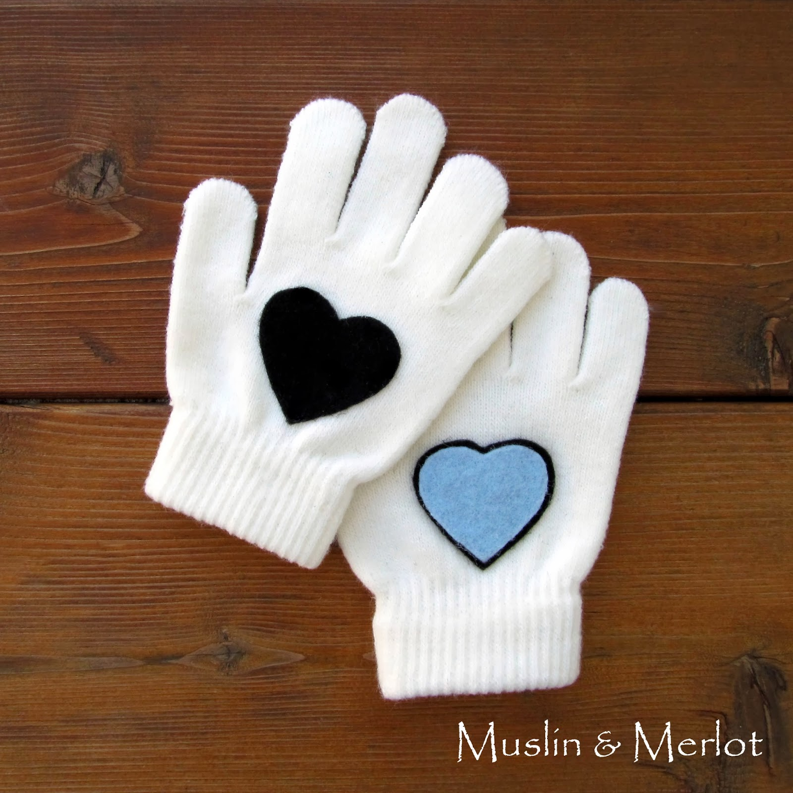 Felt Heart Gloves by Muslin & Merlot