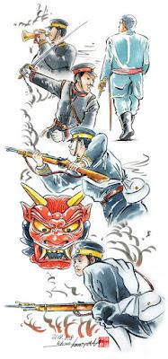 西郷隆盛、イラスト制作、漫画、カット、神谷一郎、水彩