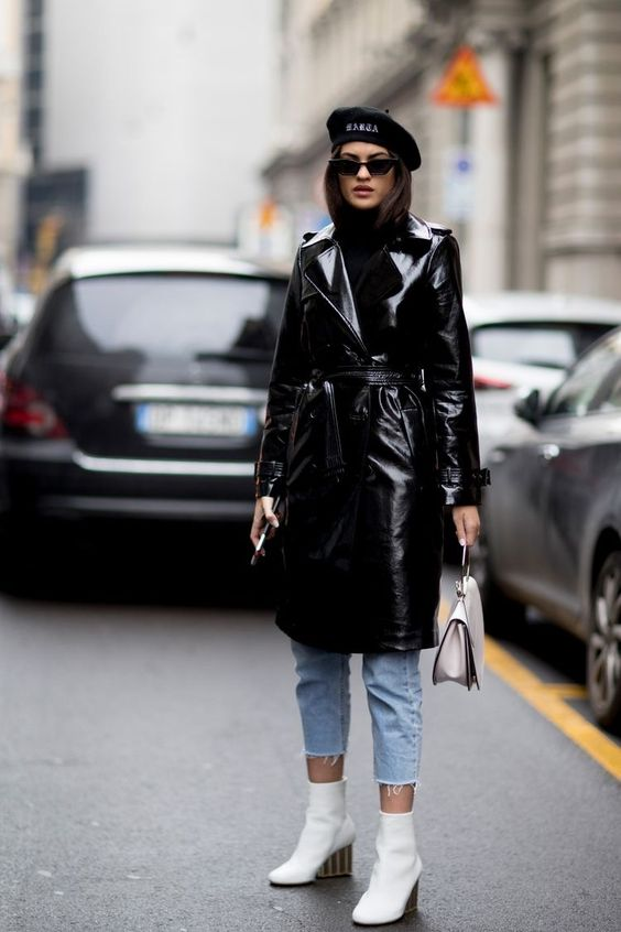 Sara Sampaio Vinyl Trench Coat White Ankle Boots Model off Duty street style
