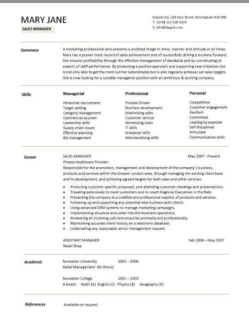 resume samples for sales manager