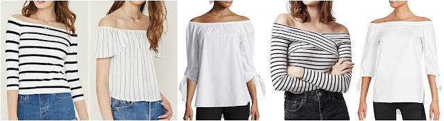 Forever 21 Stripe Off-the-Shoulder Top $9 Forever 21 Contemporary Striped Top $16 Stylus 3/4 Sleeve Off-The-Shoulder Tie-Sleeve Top $25 (reg $44) Topshop Striped Off the Shoulder Crop Top $38 Saks 5th Avenue Black Off-The-Shoulder Blouse $50 (reg $109)