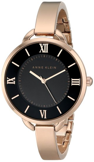 c13e9dbf7 Anne Klein Women's AK/1826BKRG Rose Gold-Tone Bangle Watch. Elegant rose  gold-tone bangle watch featuring logoed black dial with alternating Roman  numeral ...