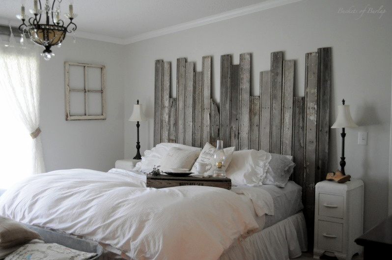 Master Bedroom With DIY Rustic Barn Wood Headboard. Remodelaholic   Master Bedroom With DIY Rustic Barn Wood Headboard