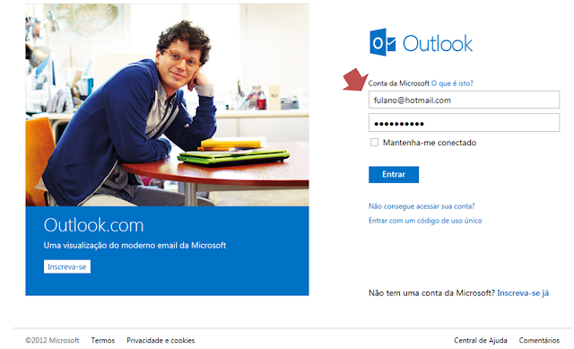 Outlook substitui o Hotmail, esta é a tela de login